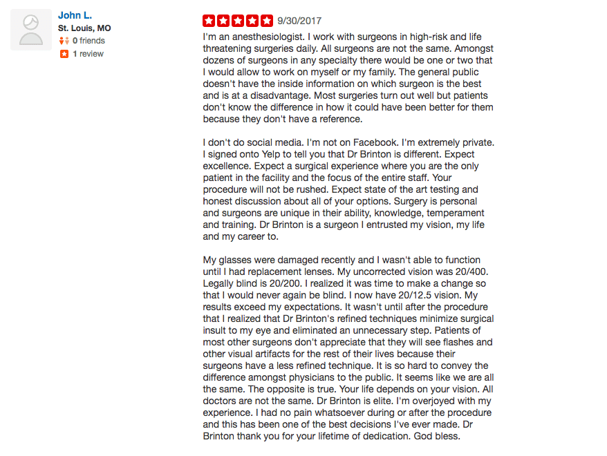 Brinton Vision Yelp Review Laser Eye Surgery St. Louis